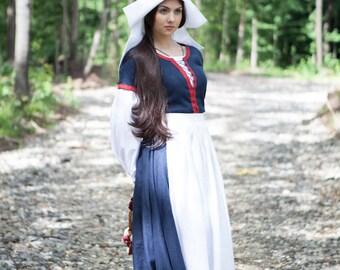"""Renaissance Linen Skirt Apron """"Forget Me Not""""; Womens Apron; Medieval Apron"""