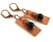 Copper and Onyx Dangle Earrings, Beaded Earrings, Nature Inspired, Fashion Accessories, Gifts, Women's Jewelry, Mother's Day, Casual Wear