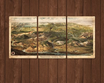 "Vintage Yellowstone METAL Map Triptych 48x24"" FREE SHIPPING"