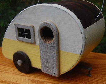Birdhouse Trailer - Teardrop Bird houses - yellow/white tear drop birdhouses - vintage birdhouse camper