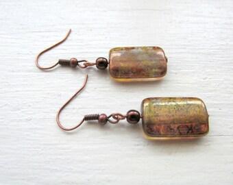 Bronze Metallic Czech Glass and Antique Copper Earrings