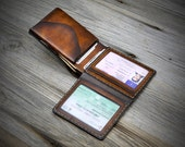 Coin Pocket - ID Window Leather Wallet for men. Bifold leather wallet with coin pocket. Small size leather wallet. Hand stitched in Italy.