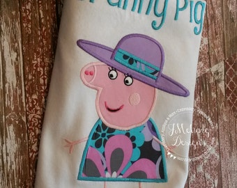Peppa Pig Family Granny Pig Birthday Custom Tee Shirt - Customizable -   Adults 123