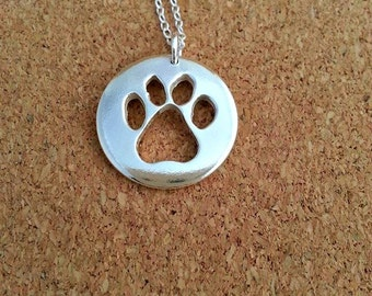 Dog Paw Print Pendant Paw Silver Necklace Dog Lover Jewellery