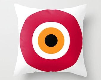 "evil eye, red, cushions, cushion cover, pillow covers. 16"" x 16"" (40 x 40 cm), 18"" x 18"" (45 x 45 cm), 20"" x 20"" (50 x 50 cm) or 24"" x 24""."