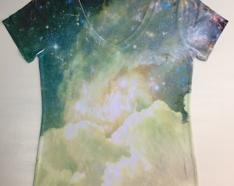 woman galaxy print top, t shirt and tank xs - plus size(148b)