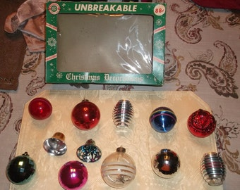 12 Vintage Christmas Unbreakable Ornaments