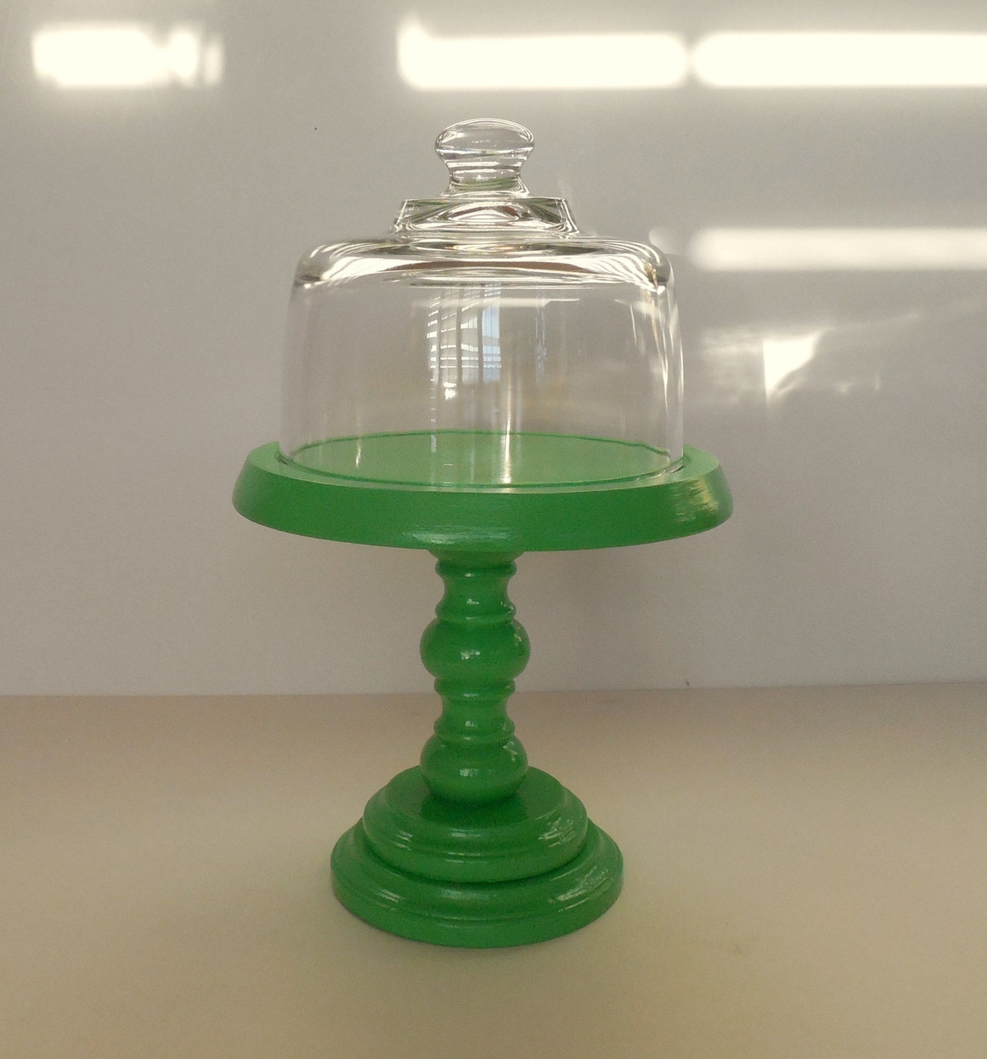 Green Wood Dessert Stand With Glass Dome Small Cake Pedestal
