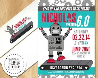 Retro Robot - Gears Birthday Invitation with Custom Envelopes