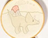 Triceratops embroidery hoop art dinosaur nursery art cute dino baby decor