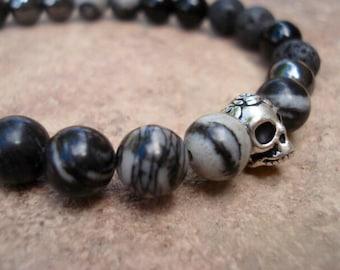 Mens Skull Bracelet, Mens Black Bracelet, Mens Onyx Bracelet, Mens Lava Bracelet, Obsidian Bracelet, Hematite Bracelet, Mens Bracelet