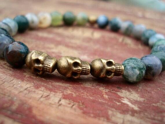 Skull Bracelet, Agate Bracelet, Mens Bracelet, Men Jewelry, Steampunk Bracelet, Stretch Beaded Bracelet, Gemstone Bracelet, Goth Bracelet