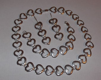 SALE Sterling Silver .925 Parure - Necklace, Bracelet and Earrings, Heart Shaped Soldered Links