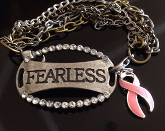 Breast Cancer Survivor Bracelet - Fearless Multi Chain Jewelry - Pink Ribbon Jewelry - Awareness Gift / Surgery Gift / BRCA