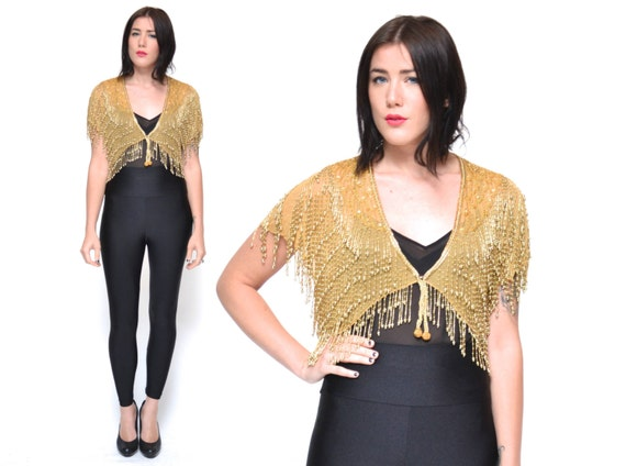 Vintage GOLD BEADED jacket // 80s BEADED fringe bolero jacket // Cleopatra sequin fancy evening shawl