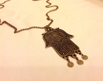 Hamsa Hand Necklace, Antique Brass Necklace, Boho jewelry, Long Bohomian Style Necklace, Amulet Protection pendant, Christmas Gift, Hallowee