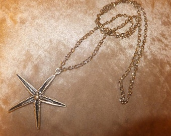 Starfish Necklace, Silver Long Necklace, Boho Necklace, Starfish Pendant Handmade Jewelry, Metal Necklace, Christmas Gifts, Best gift ideas,