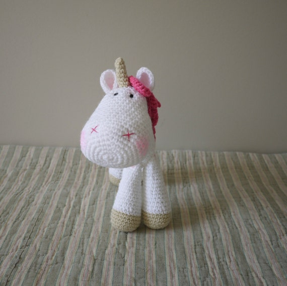 Crochet Unicorn Doll : Amigurumi crochet unicorn Luna by TheDollyNook on Etsy