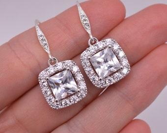 Crystal Wedding Earrings, Rhinestone Bridal Earrings, Crystal Earrings, Cushion Cut Earrings, Square Cut Earrings, Rhinestone Earrings 0268
