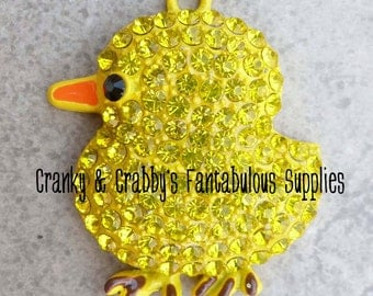 Large Yellow Chick Yellow Baby Chick Rhinestone Pendant -  44mm x 35mm - Silver  - Easter