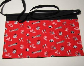GA Bulldogs Aprons, Waiter Aprons , Sport Apron,Football Apron,Waitress Aprons, Bistro Apron, Restaurant Apron, College Football Apron,