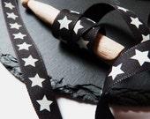 Black And White Star Print Ribbon 15mm