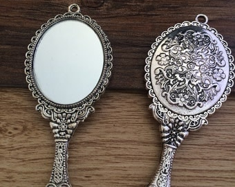 5pieces 73x30mm mirror Charms -  antique silver charm pendant  Jewelry Findings