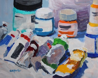 Still Life Painting, original fine art, acrylic on paper 6x8 inches impressionism