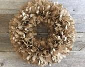 Burlap Rag Wreath, Round burlap wreath, Burlap Wreath, Rustic Burlap wreath, Rustic Wreath,Shabby Chic Wreath, Shabby Chic Burlap Wreath