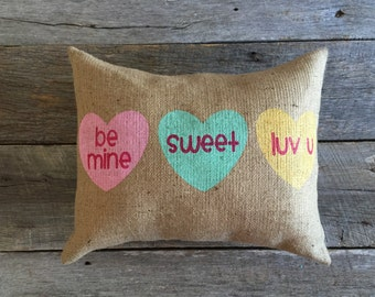 Valentine Heart Burlap Pillow,burlap pillow,Valentine Pillow,Stenciled Pillow,Sweethearts candy pillow,sweethearts candy stenciled pillow