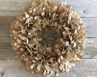 Burlap Rag Wreath, Round burlap wreath, Burlap Wreath, Rustic Burlap wreath, Rustic Wreath,Shabby Chic Wreath, Shabby Chic Burlap Wreath