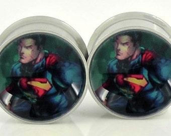 Superman Image Plugs - 18g,0g,00g,7/16,1/2, 9/16, 5/8,11/16,3/4,7/8