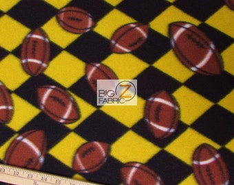 "Sports Football Yellow Black Checkered Print Polar Fleece Fabric 60"" Width Sold By The Yard (771)"