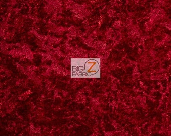 "Crushed Stretch Velvet Costume Fabric - RED - 54""/55"" Width Sold By The Yard"