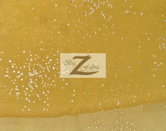 """Crystal Sparkle Organza Fabric - GOLD - 57"""" Width Sold By The Yard"""