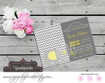 Baby Shower Invitation--Chevron Elephant Invitation--Grey Chevron--Neutral Colours--Digital Invitation--Baby Shower--Birthday--Printable-DIY