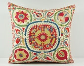 Decorative pillow cover - throw pillow - suzani Pillow - hand embroidered NSP103-32