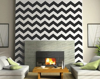 Chevron Wall Decals - Chevron Bedroom Wall Decal - DIY Chevron Wall Stickers - Bedroom Chevron Decals, Chevron Wall Art, g23