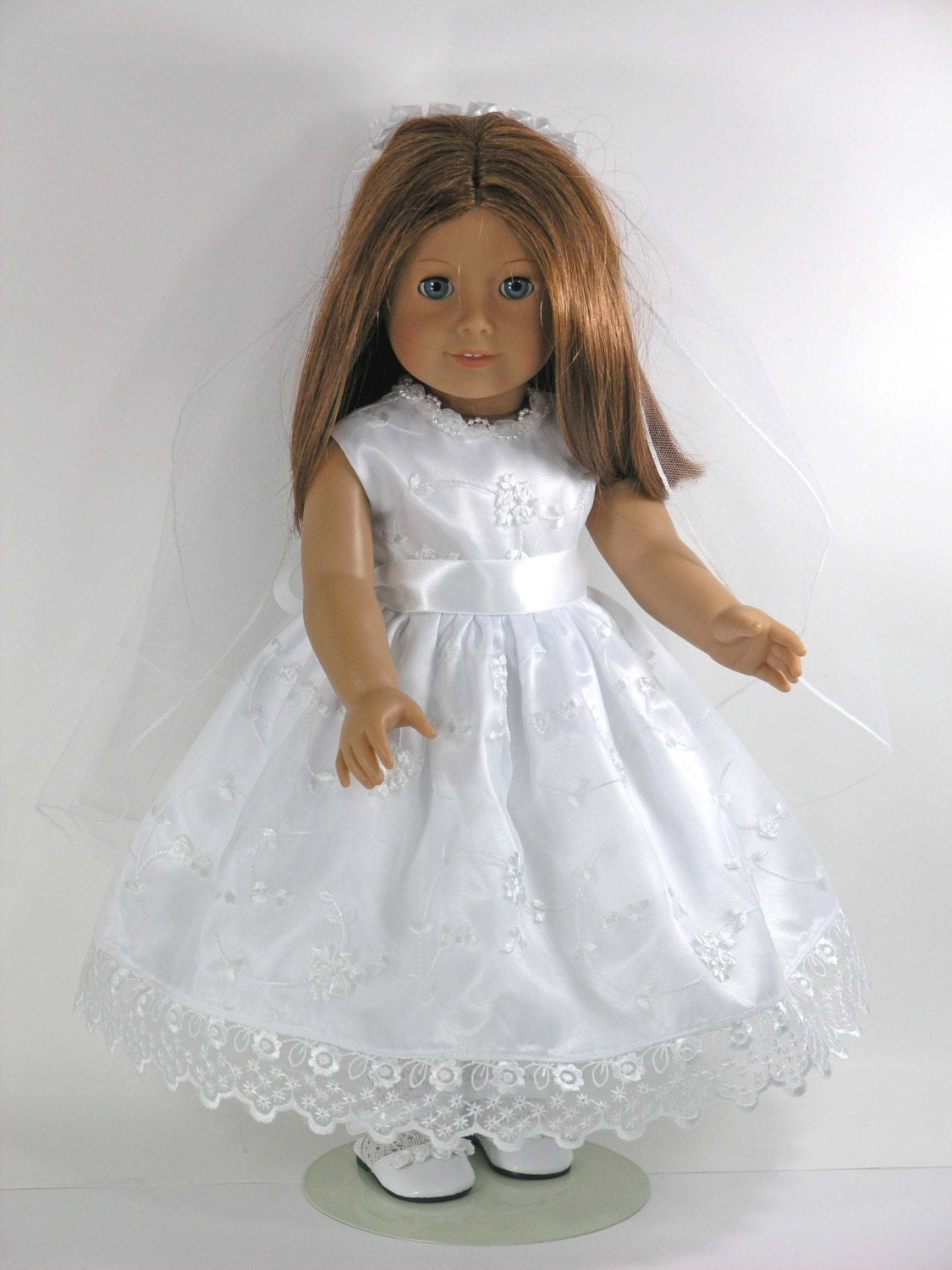 handmade first communion 18 inch american girl doll dress. Black Bedroom Furniture Sets. Home Design Ideas