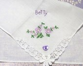 Vintage Personalised Hand Embroidered Floral Handkerchief