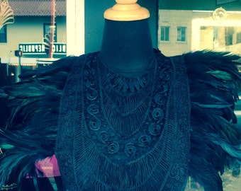 Dramatic Black Feather Corset Top