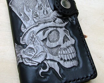 Small Cow leather wallet style biker with skull