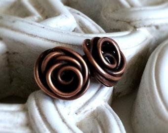 Copper Rose Bud Stud Earrings   Antiqued Copper   Unique Copper Earrings   Copper Post Earrings   Wire Wrapped Studs   Rose Jewellery UK