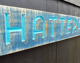 Hatteras Island Sign - V-Carved, Hand Painted and Distressed Outer Banks Wall Decor Buxton North Carolina Lighthouse