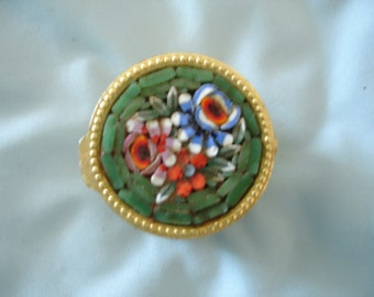 Mid Century Vintage Micro Mosaic Green Pill Box/Ring Box  Made in Italy