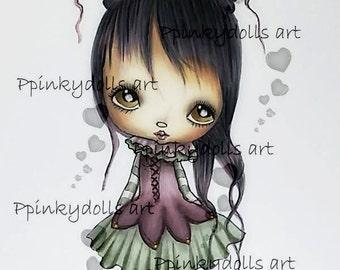 INSTANT DOWNLOAD Digital Digi Stamps..by Chrishanthi's art,Small princess''