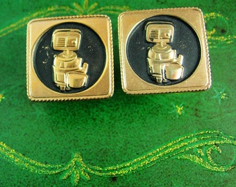 WestingHouse Cufflinks Vintage Washing Machine Industrial Gold plate Wringer Washer Cuff Links
