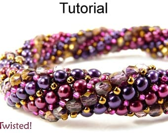 Beading Tutorial Pattern Bracelet Necklace - Twisted Herringbone Stitch - Simple Bead Patterns - Twisted! #445