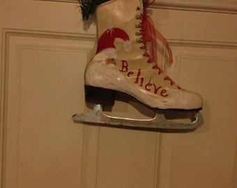 Christmas Hand Painted Santa Ice Skate Decoration