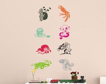 Vinyl Kids Wall Decal  Animals Set  Sticker Home Decor  Wall Decals  Sticker  Removable